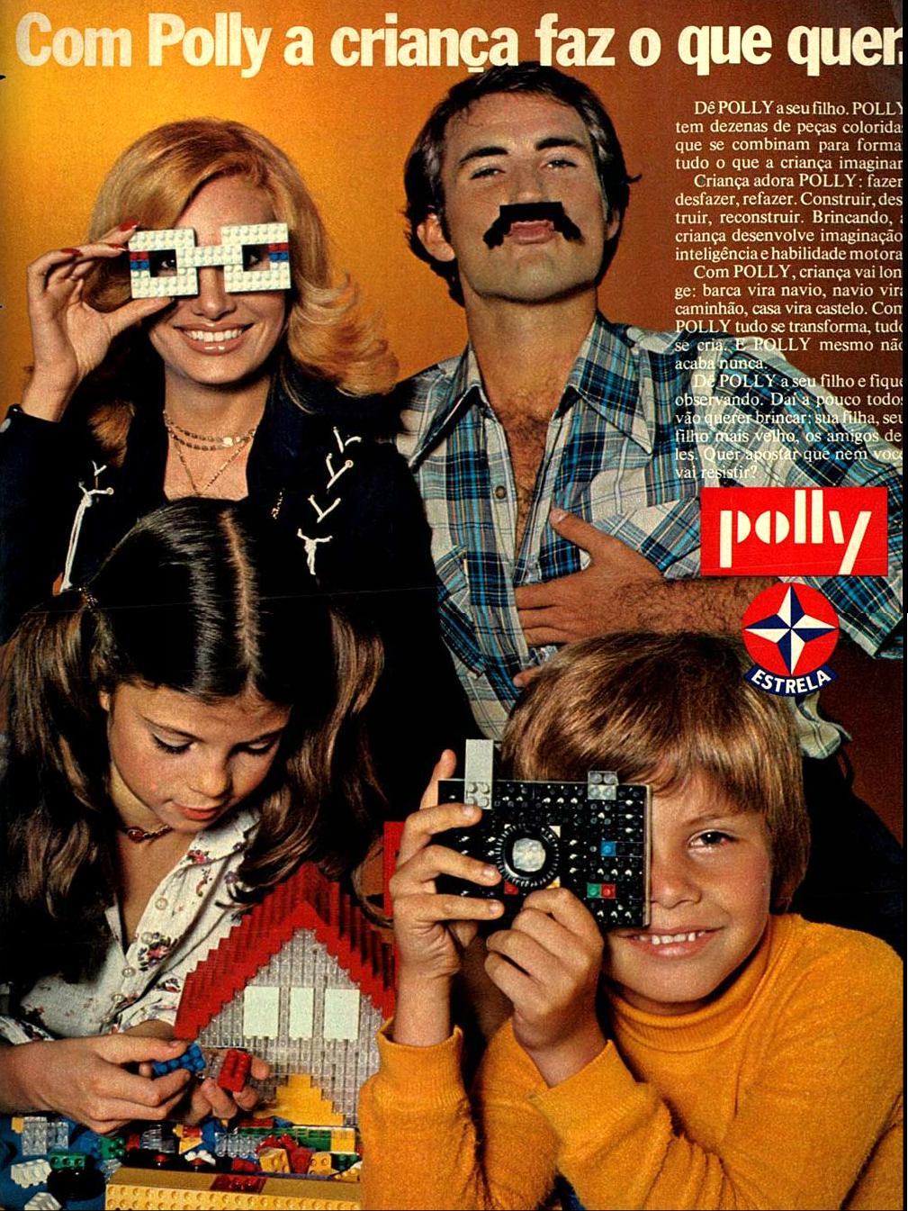Propaganda antiga da Estrela em 1976 apresentando o conjunto de peças de encaixe chamado Polly
