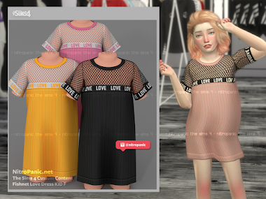 Fishnet Love Dress KID F for The Sims 4