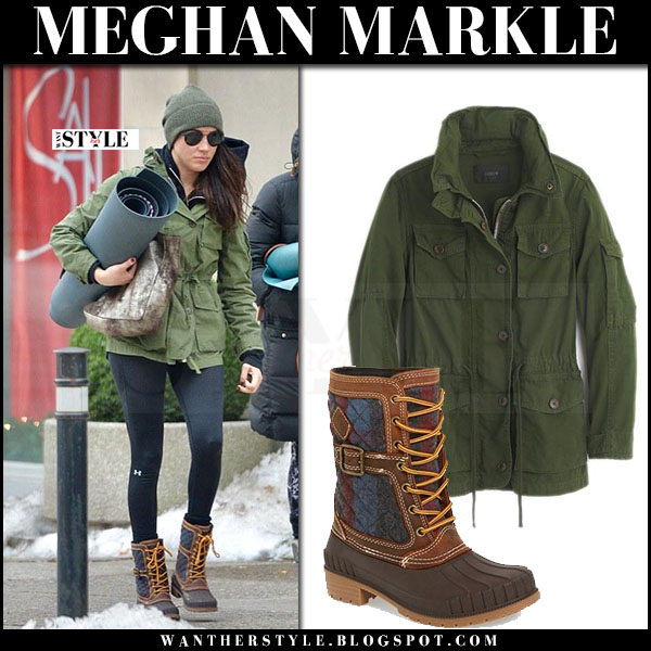 Meghan Markle in green canvas jacket jcrew field, black leggings and brown winter snow boots kamik sienna what she wore