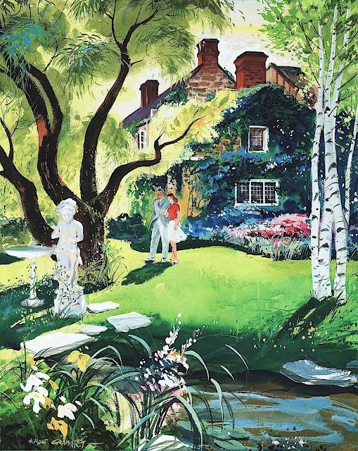 a Hardie Gramatky illustration of a couple walking in a garden outside a home
