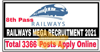 Jobs,railway jobs 2021,railway jobs 3366 posts, railway jobs recruitment 2021 for 3366 posts