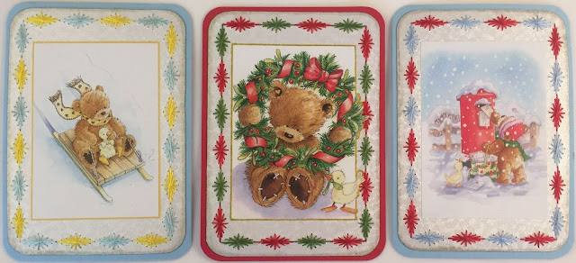 Paper Embroidery Christmas ATC card with bear