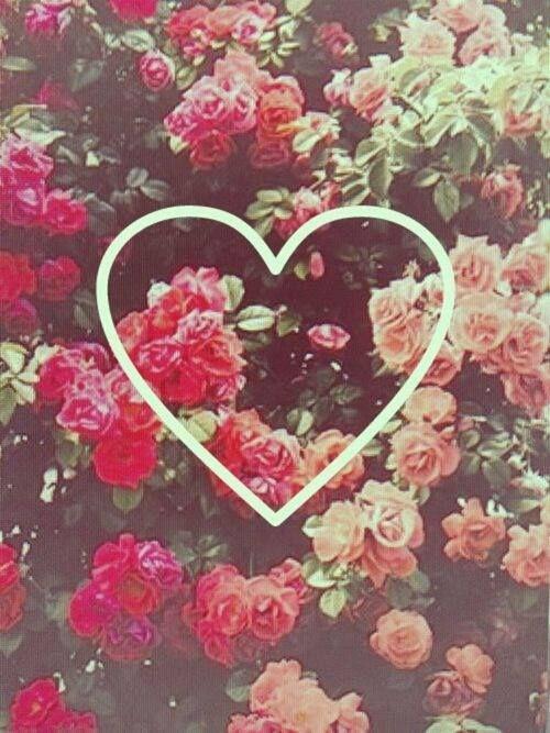 fondo celular flores vintage y corazon