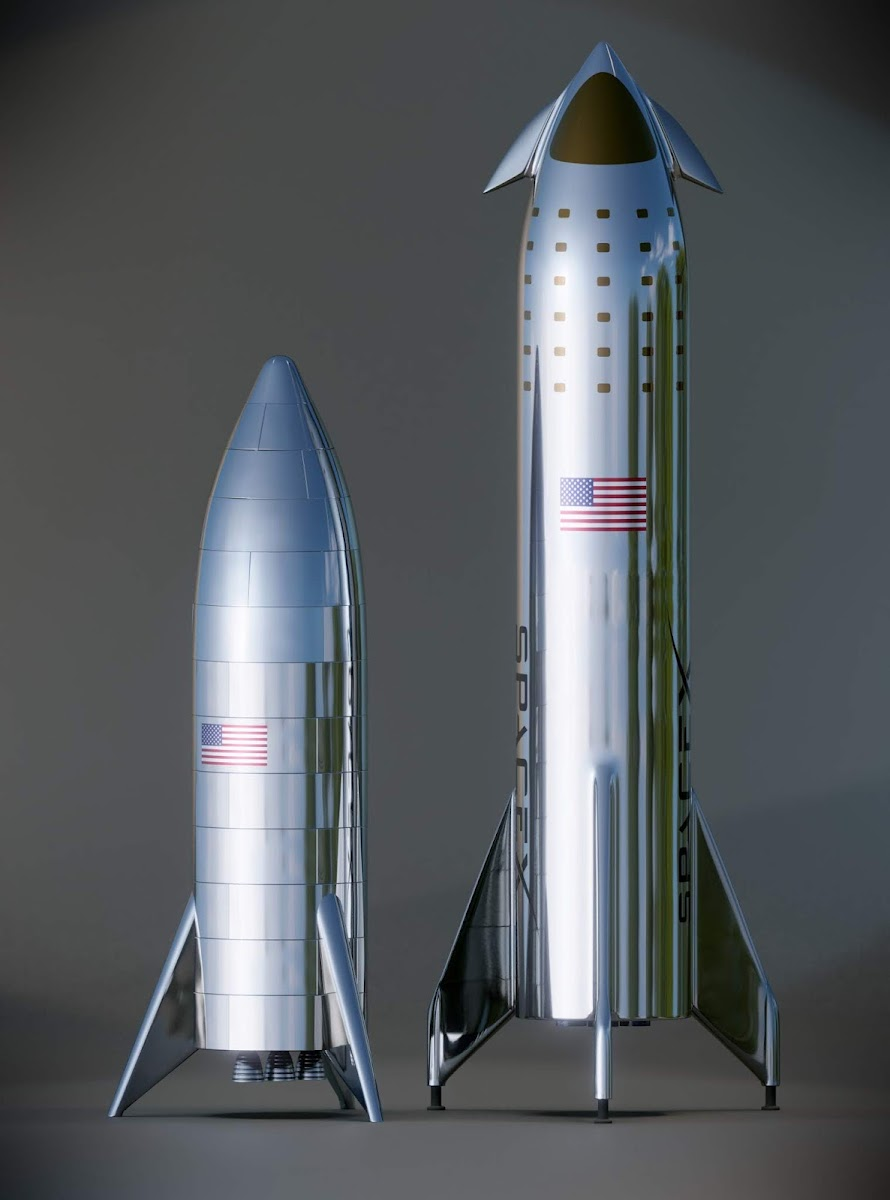 SpaceX Starhopper and Starship model comparison by Kimi Talvitie