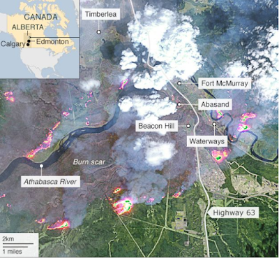 Canada fires: the province of Alberta threatened neighbor blaze-with map