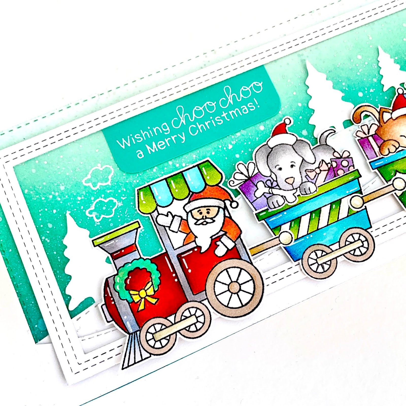 Wishing Choo-Choo a Merry Christmas Card by September Guest Designer, Handmade by Kavya | All Aboard for Christmas Stamp Set by Newton's Nook Designs #newtonsnook #handmade