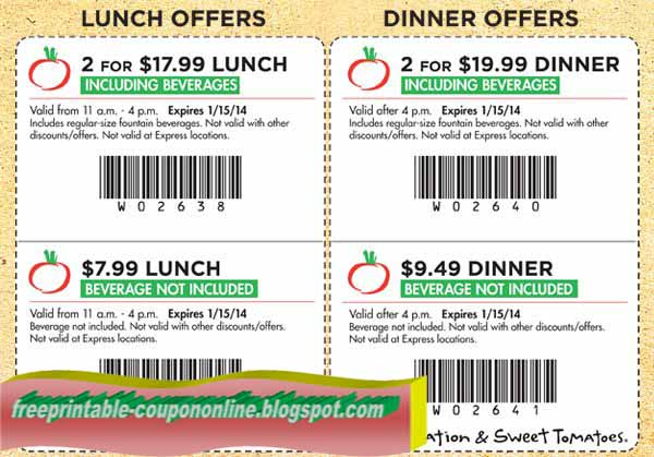 20% 25% Off Family Combos Printable & Mobile: Get 20% off a lunch family combo or 25% off a dinner family combo. 2 adults, 2 children and 4 eastreads.ml Sweet Tomatoes coupons can be printed or shown on a mobile phone. (Nov)Family Deal Combo For $ Or $