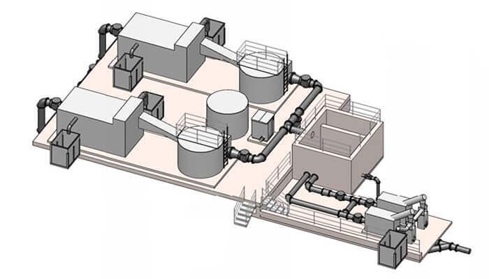 Axonometría de las nuevas instalaciones. Gentileza de Black & Veatch.