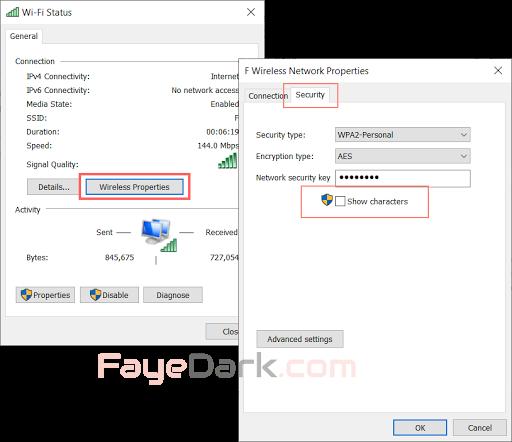 chuyển đến tab Security, nhấp vào Show Characters để xem mật khẩu Wi-Fi
