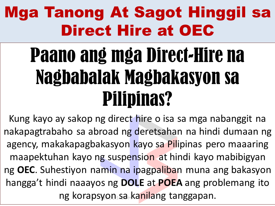 About Direct Hire Overseas Filipino Workers (OFWs) and About OEC
