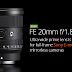 Sony Goes Ultra-Wide with FE 20mm f/1.8 G Lens