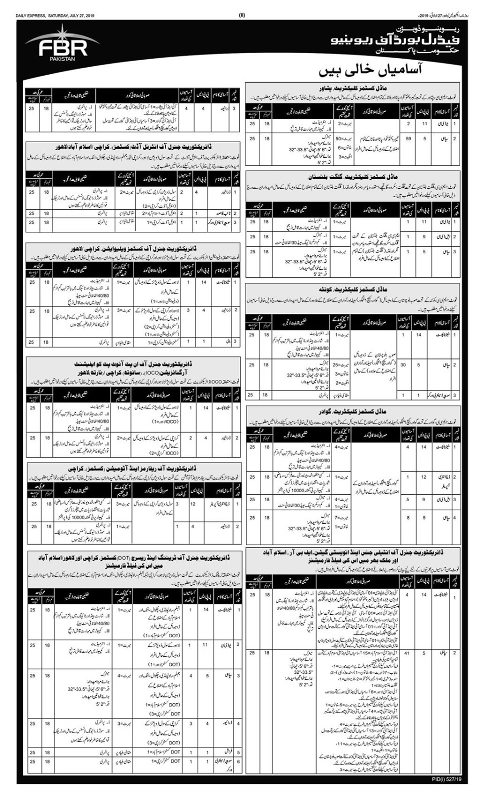 Advertisement for FBR Jobs July 2019 Page No. 1/3