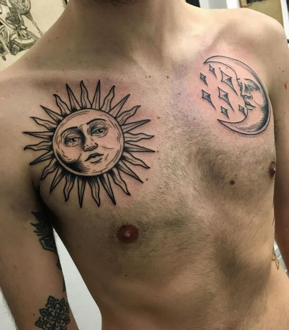 moon and sun tattoo design on chest for men