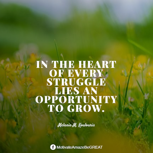 "Inspirational Quotes About Life And Struggles:  ""In the heart of every struggle lies an opportunity to grow."" - Melanie M. Koulouris"