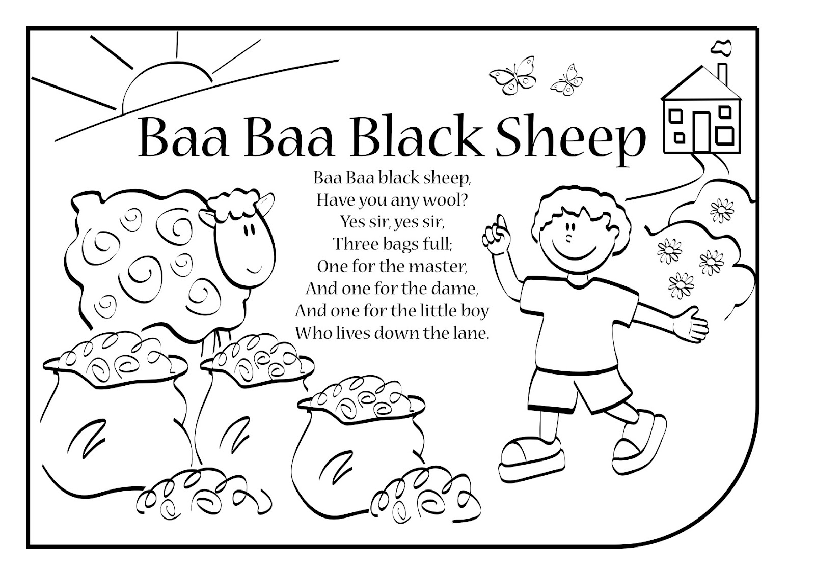 Baa Black Sheep Coloring Pages Home Sketch Coloring Page