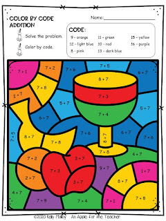 Kwanzaa color by number addition fruit and cup