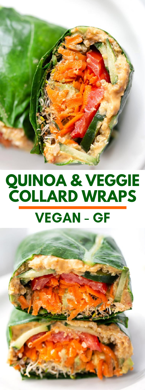 Quinoa & Veggie Collard Wraps #vegetarian #healthy
