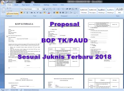 Contoh Proposal Usulan Dana BOP PAUD Tahun 2018