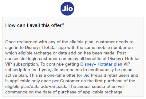 How to avail Jio Disney+Hotstar offer
