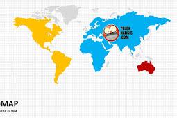 Template WORLD MAP PPT Diagram Slide Powerpoint (Peta Dunia)