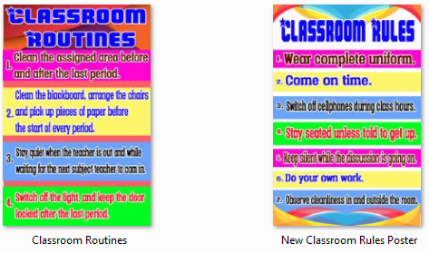 New High Quality Posters Classroom Rules Routines Deped Files 2017 on Google Bulletin Board