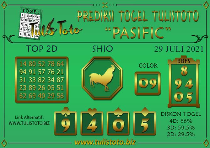 Prediksi Togel PASIFIC TULISTOTO 29 JULI 2021