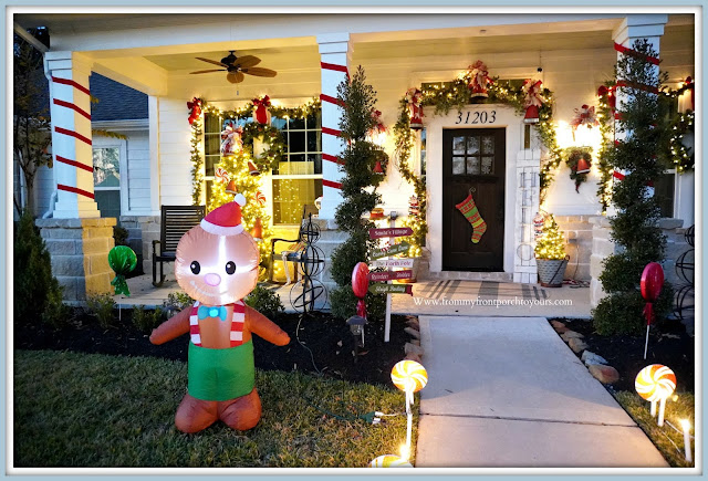 Cottage- Farmhouse- Christmas -Porch-Gingerbread Themed-Wrapped-Porch-Columns-Jingle Bells- -From My Front Porch To Yours