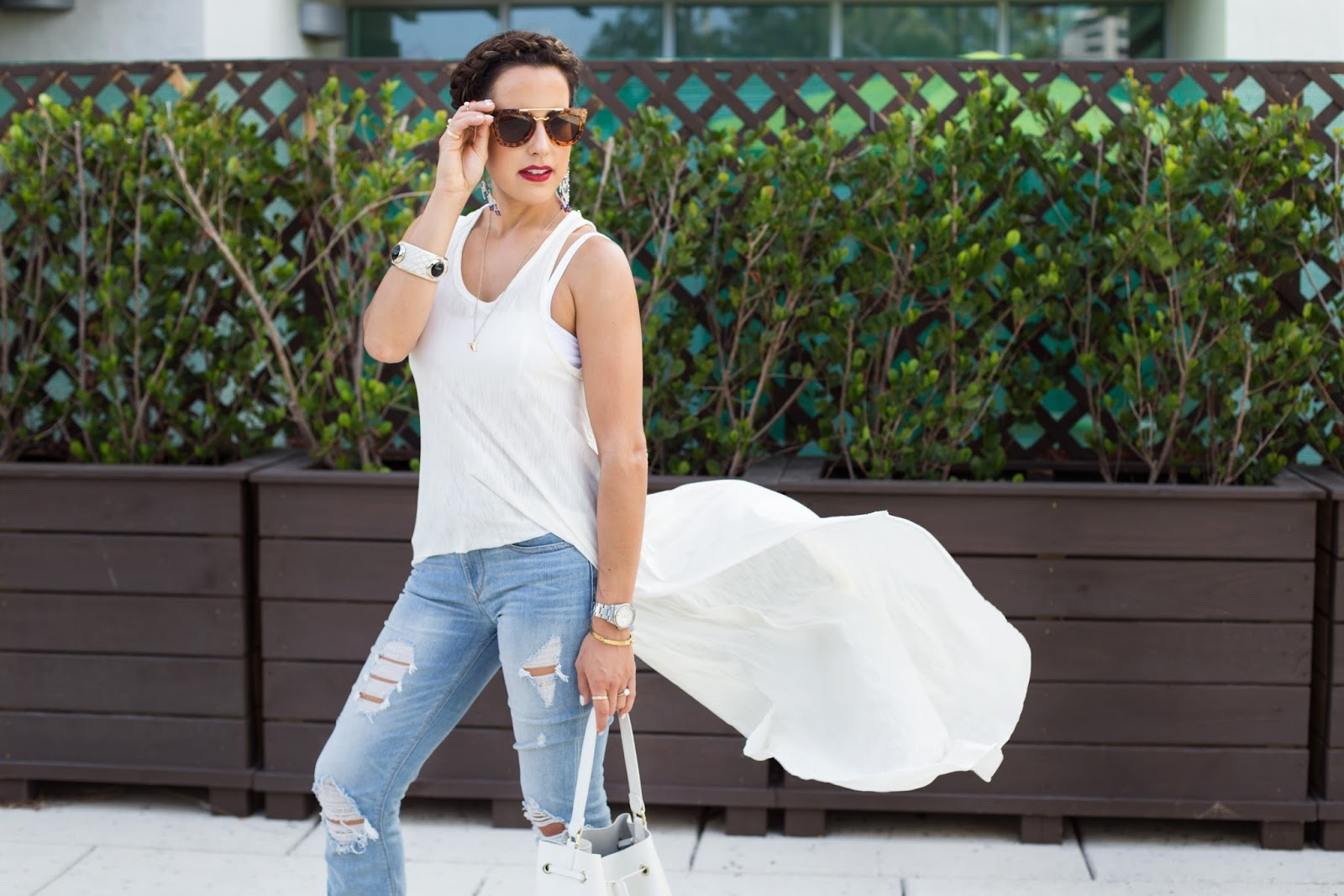 Distressed Jeans White Tank Top Fashion Blogger Kelly Saks
