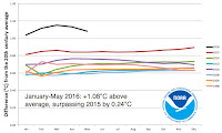 Cumulative departures from normal in global temperature (year to date) for each month in 2016. For the year thus far (January-May), 2016 is head and shoulders above all other years in the NOAA database going back to 1895. The six closest competitors are shown above. (Image credit: NOAA/NCEI) Click to Enlarge.