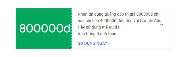 Chia sẻ mã tín dụng Adwords trị giá 800k
