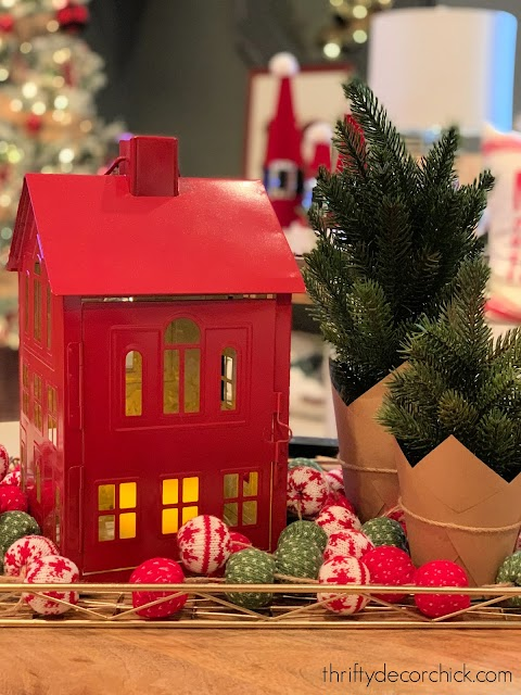 Red metal Christmas house candle