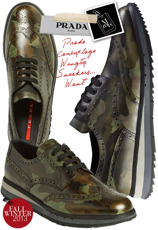 6dda1d37bf5b3b Below: More camouflage print shoes to add to your shopping wishlist... Prada  Camouflage Wingtip Sneakers is one shoe that's worthy of investing... takes  you ...