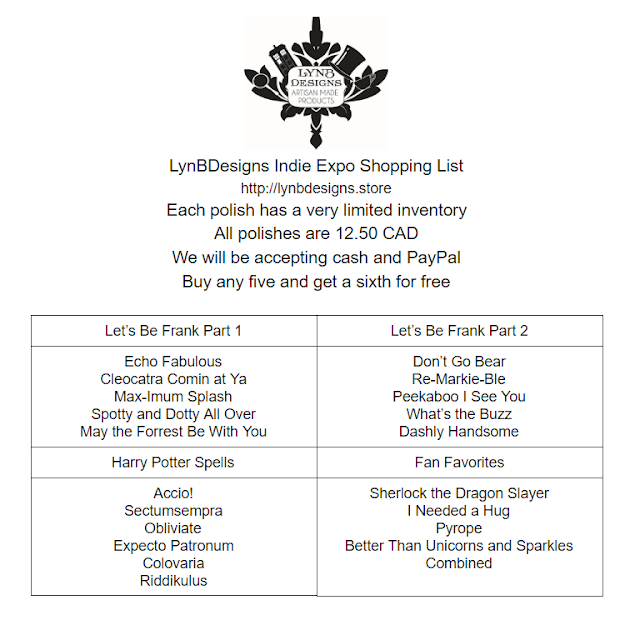LynBDesigns | Indie Expo Canada Shopping List