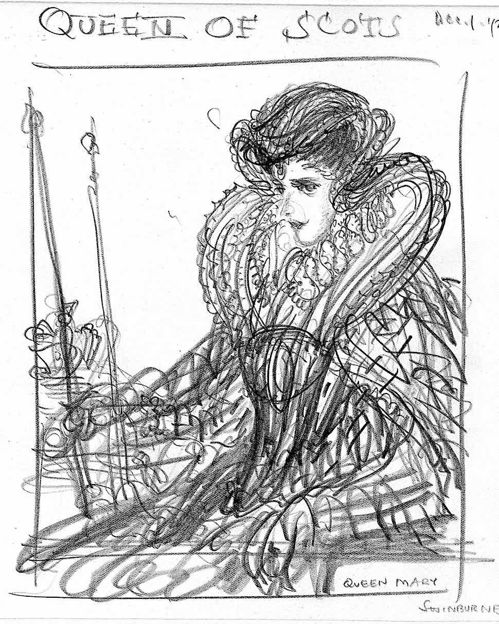 Mary Queen Of Scots by Edmund J. Sullivan 1923, a pencil sketch