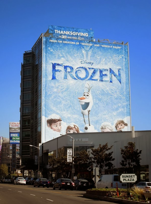 Giant Disney Frozen movie billboard Sunset Strip