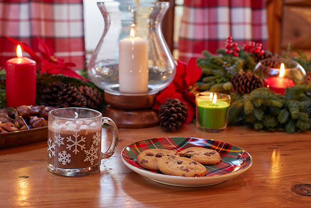 Holiday decor and cookies at Santa's house