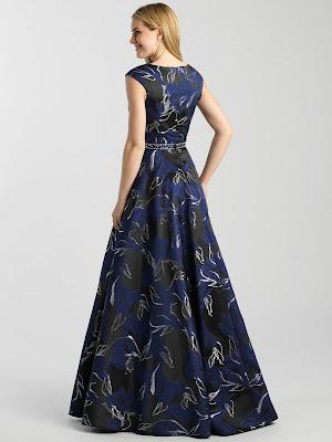 Scoop Neckline Prom Dress by Madison James Black navy color Back side