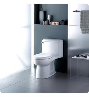Sleek toilet against a dark wall.