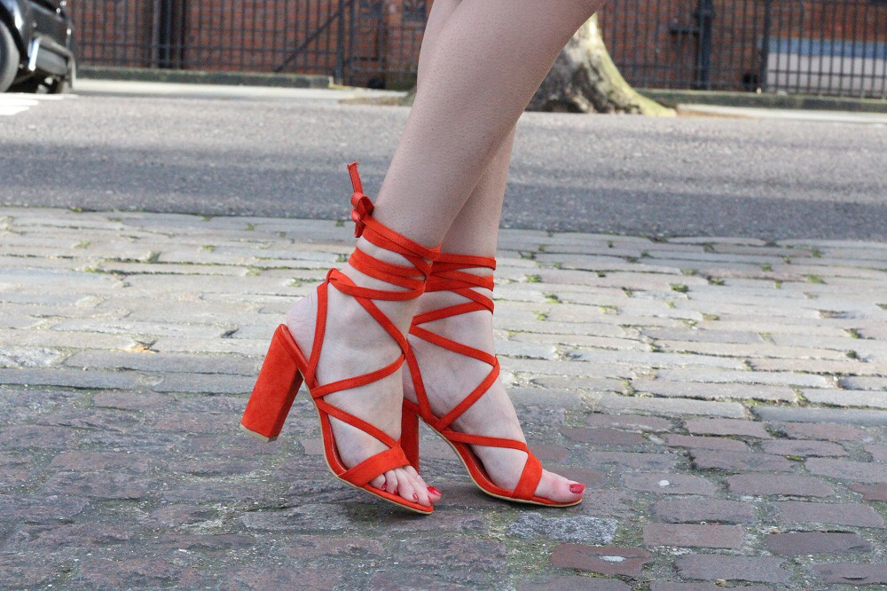 red lace up heels public desire