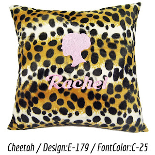 Personalized cushion with Cheetah print faux fur