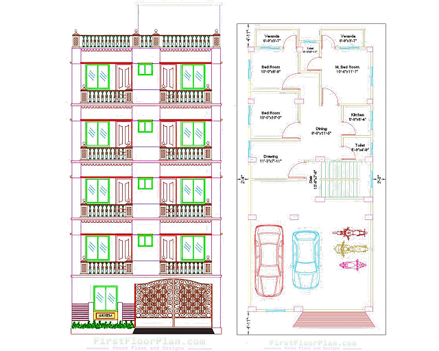 6 Storey Building 2D Designs