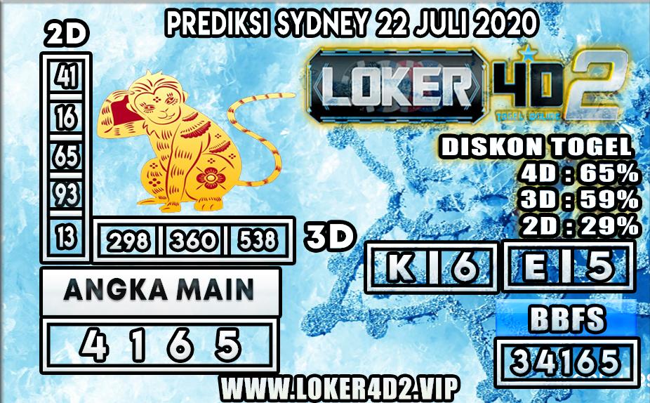 PREDIKSI TOGEL LOKER4D2 SYDNEY 22 JULI 2020