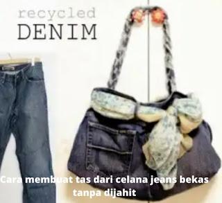 Anda bisa membuat sendiri tali tersebut dari bagian celana jeans juga seperti digambar.