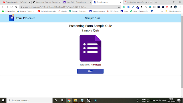 7 steps to set time limit in google form with Form Presenter for Quiz and other forms.