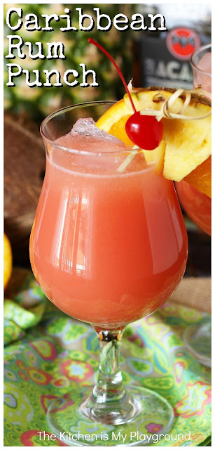 Caribbean Rum Punch ~ Enjoy the fabulous tropical flavors of rum punch at home - no plane or cruise tickets needed! The perfect cocktail for sipping poolside, in a shaded porch rocking chair on a hot day, or ANY day you feel like it. www.thekitchenismyplayground.com