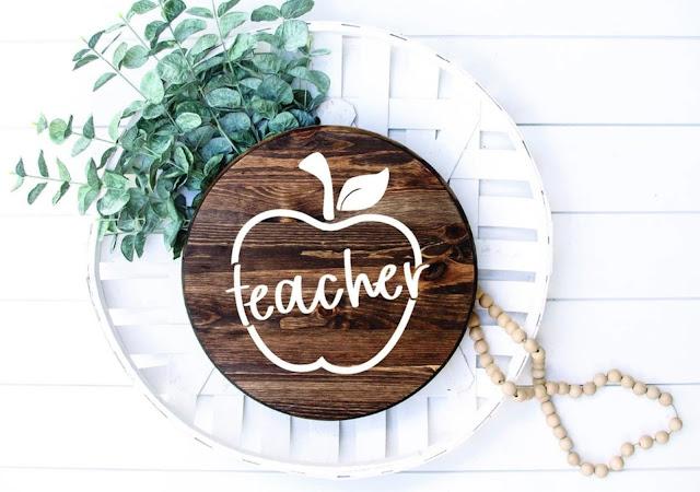wood round, teacher gift, free studio design, free silhouette design, free silhouette studio design
