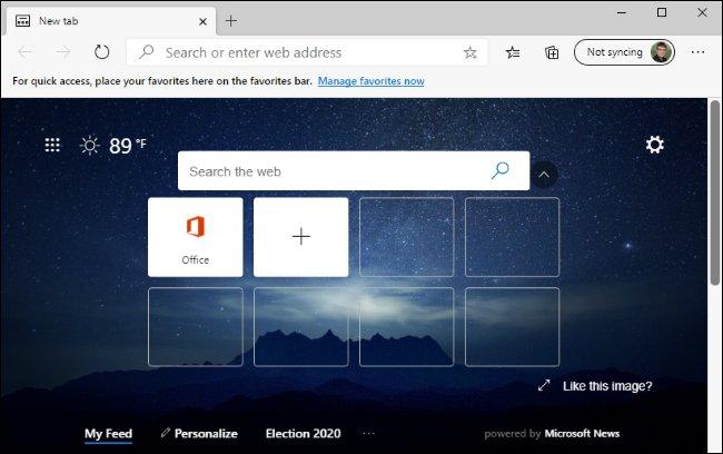 صفحة علامة تبويب جديدة في متصفح Microsoft Edge الجديد.