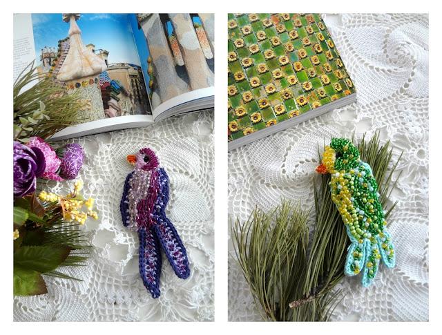 Crochet Brooches: Paradise Birds