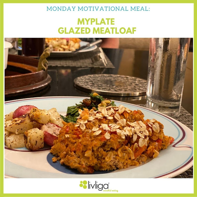 Livliga's Glazed Meatloaf from MyPlate on Halsa Portion Control Dinner Plate