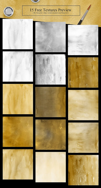 15 Free Gold and Silver Colors Watercolor Textures-belal.art